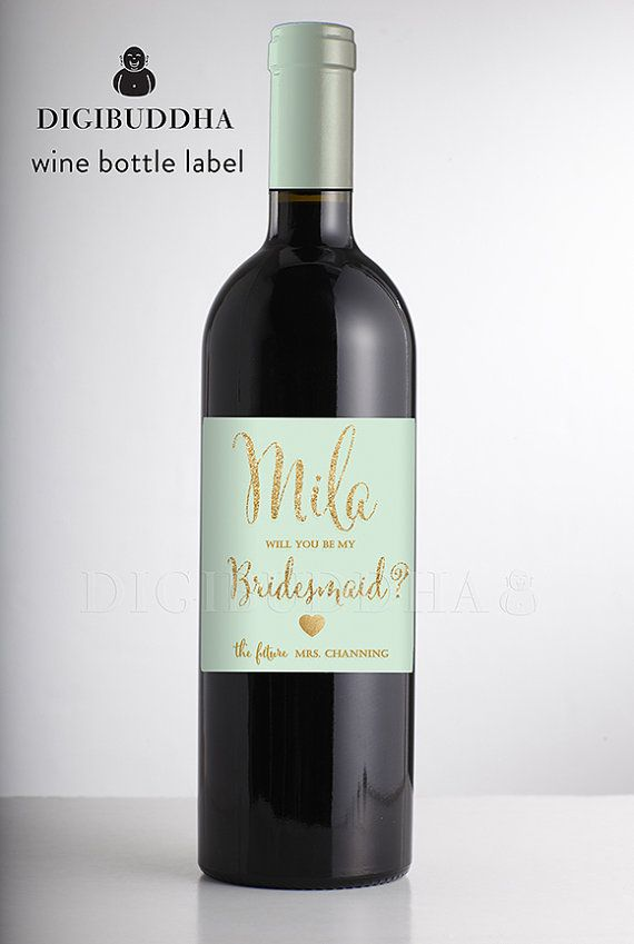 Will You Be My Bridesmaid? WINE LABELS Modern Mint Green & Gold Glitter Glam Boho Personalized Label Wedding Bachelorette Party available at digibuddha.com