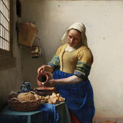 The Milkmaid, Johannes Vermeer, c. 1660 - Rijksmuseum  I love the composition and Vermeer's typical fall of light!