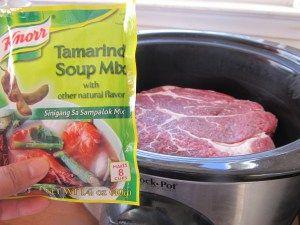 Filipino beef sinigang in a crock pot