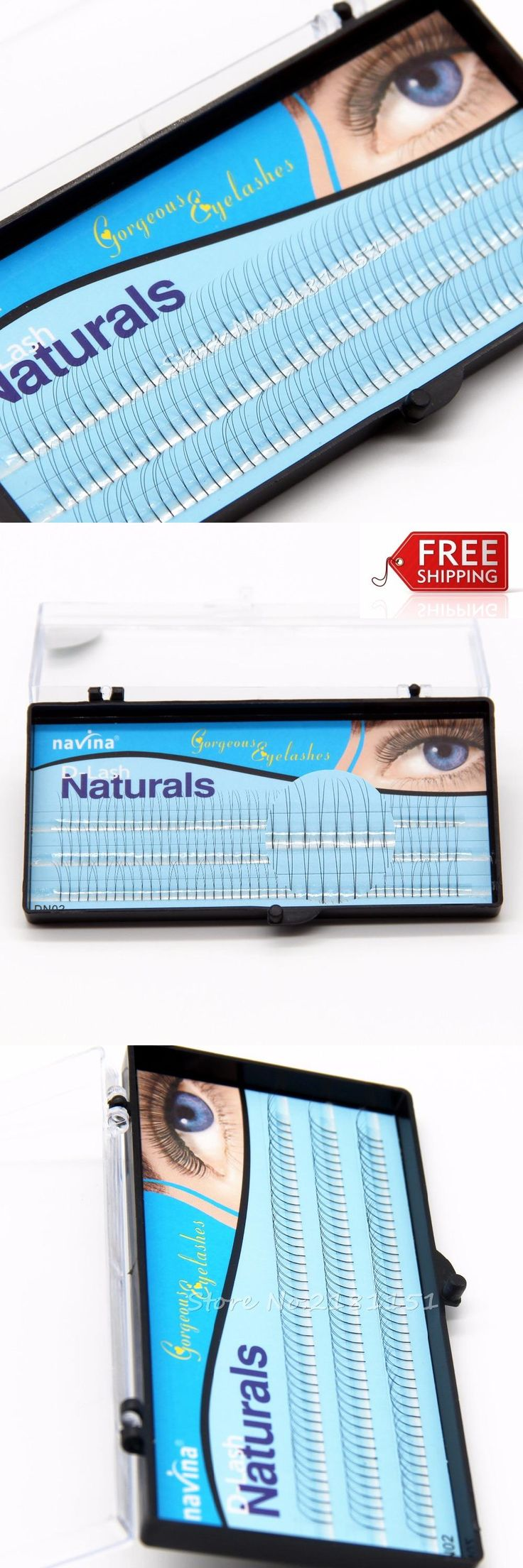 [Visit to Buy] NAVINA 2 Flairs V Type Black Cluster Eyelashes 0.1mm C curl 8/10/12mm Nature Soft False Eyelash Extension Lashes Makeup tool #Advertisement