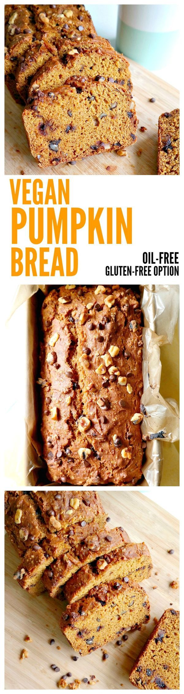 Vegan Pumpkin Bread. Easy, Oil-Free Recipe with Gluten Free Option. Doesn't crumble or fall apart!! Super soft and moist. Made with pumpkin purée, pumpkin spices and naturally sweetened. #vegan #pumpkin #bread