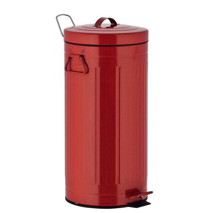 kitchen move poubelle à pédale 30l rouge 927250e red as