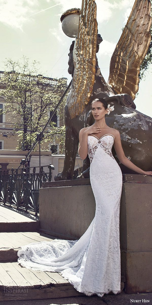 nurit hen 2016 bridal sleeveless sweetheart neckline illusion jewel lace sheath wedding dress sexy (01) mv
