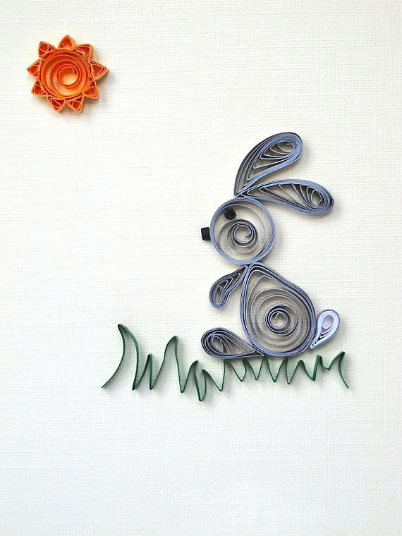 Easter Bunny quilled greeting card  Easter Card grey by szalonaisa,