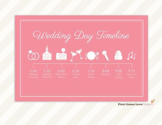 wedding day schedule of events itinerary by firstcomesloveprints 1800