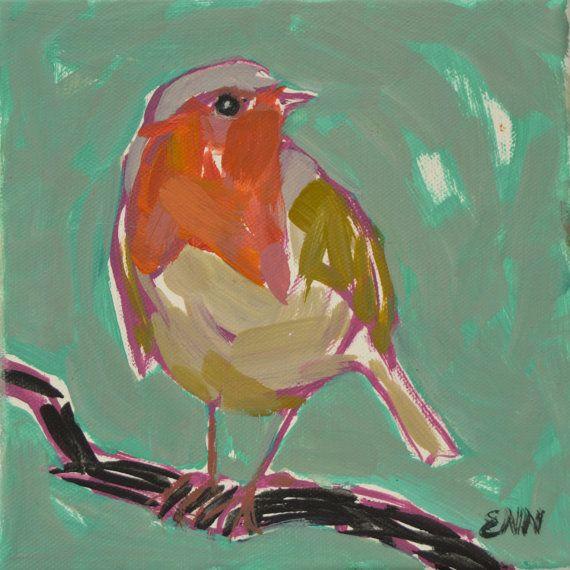 Original oil bird painting / Robin / small by NielsenDenmark