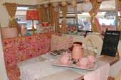 1969 Shasta Starflyte Travel Trailer with beautiful pink and white decorations in dining area: Camper Trailers Vintage, Trailer Interior, Vintage Trailers, Campers Trailers, Travel Trailers, Trailers Campers, Glamping Trailer, Vintage Campers