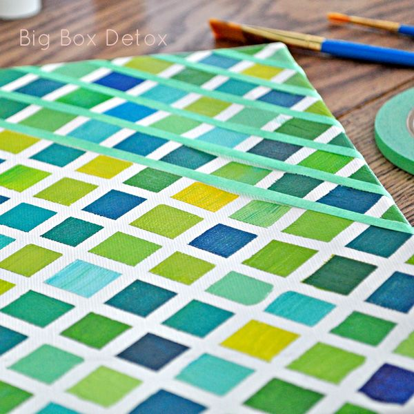 {Grid Painting}... Thin painters tape in one direction then other... Paint squares... Remove tape