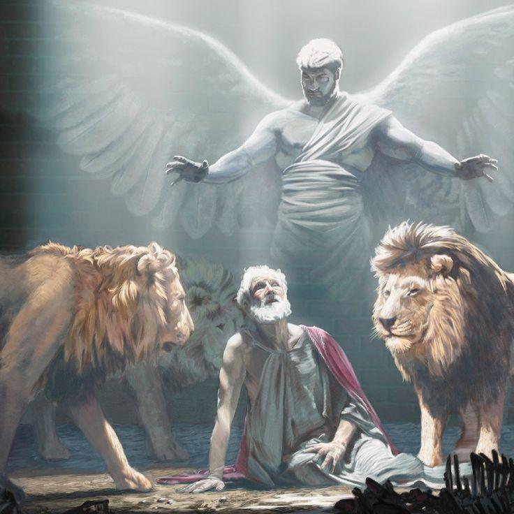 Um anjo protege Daniel na cova dos leões