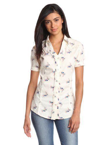Wrangler Women's Fashion Shirt Wrangler. $43.00. Made in Bangladesh. Short sleeve. All over floral pring. Princess seams. Ruffle trim. 100% Cotton Printed Poplin. Machine Wash. Western yokes