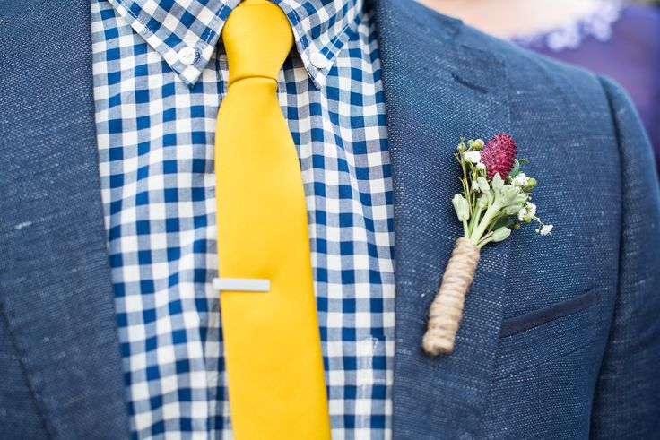 Groom in a Navy Checkered Shirt and Yellow Tie