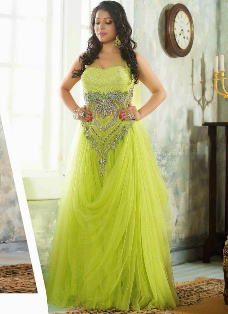 Parrot Green Net Fancy Designer Party Wear Gown http://www.angelnx.com/