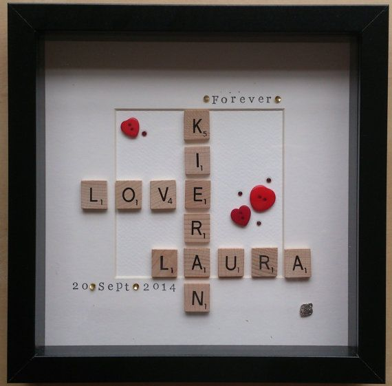 Word Art Wooden scrabble tile box frame by lottiepinkarthurblue