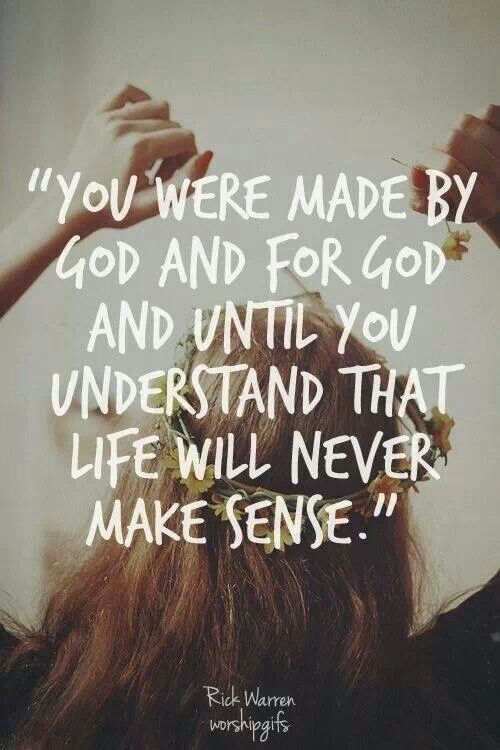 God made us with a goal in mind, we were made to achieve, believe and receive all that God has for us.
