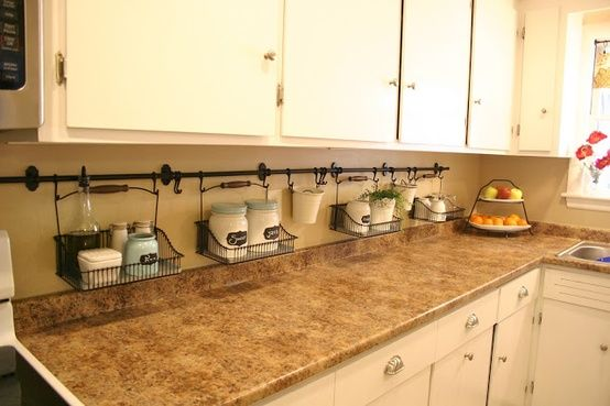 Unclutter you kitchen counter! Great idea! I cod wipe it off without moving everything!!