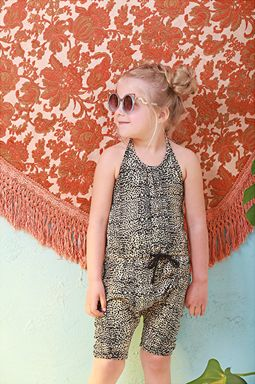 Tobi Harem Jumpsuit So Spotty! So funky and super comfy! Cotton spandex printed in our So Spotty print. Harem crotch. Low open back. Halter neck. Available in children's sizes 1 to 8.