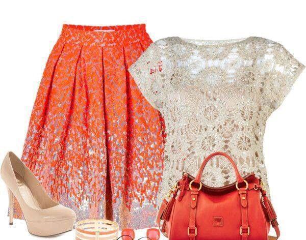 Christmas dress blouses - Falda Color Naranja Y Blusa De Encaje Faldas Colors Blusas De Encaje