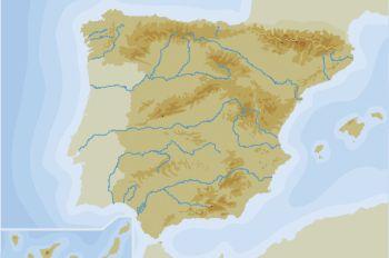 """""""Mapa físico de España (nivel 1)"""""""