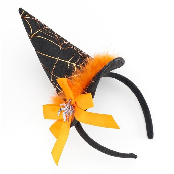 Halloween Spider & Bow Witch's Hat Headband ($5.60) ❤ liked on Polyvore featuring accessories, hair accessories, multicolor, head wrap hair accessories, hair band accessories, bow headwrap, hair band headband and bow headbands