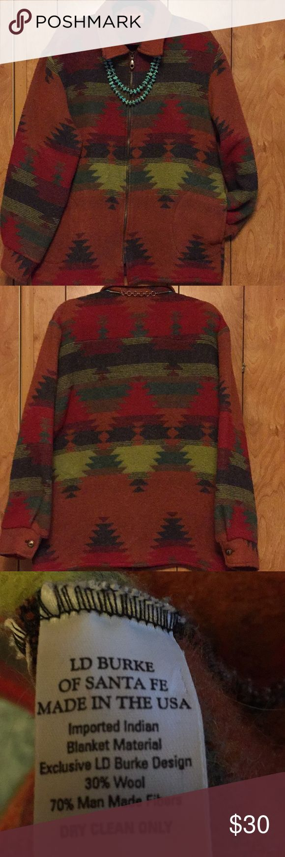 Indian blanket Coat Santa Fe Style Ladies Coat. Imported Indian blanket material. 2 nice pockets on each side of Coat. Zipper front closure. Southwest colors of rust, red and greens.  Super sweet coat Made in the USA LD Burke of Santa Fe Jackets & Coats Blazers