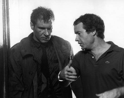 Ridley Scott and Harrison Ford behind the scenes, Blade Runner.