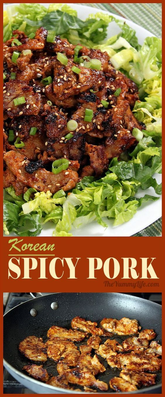 Korean Spicy Pork is an easy stir fry with amazing flavor and tender texture. Use it in rice bowls, bibimbap, lettuce wraps, Korean tacos, sandwiches and sliders.  From The Yummy Life