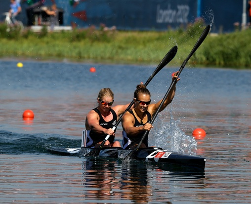 New Zealand kayakers Erin Taylor and Lisa Carrington in the Final of the Kayak Double K2 500m Women Canoe Sprint. Photo / Brett Phibbs