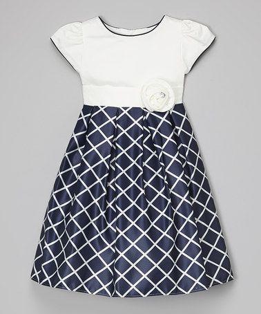 Love this Navy & White Windowpane Dress - Toddler & Girls on #zulily! #zulilyfinds
