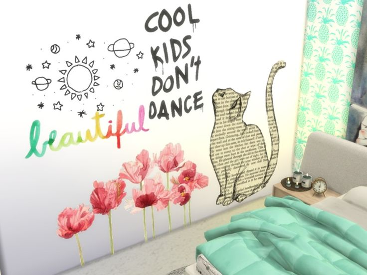 So i made this cute wall stickers found in tsr category sims 4 painting