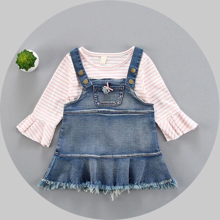 >> Click to Buy << Spring Baby Girls Striped Cartoon T-shirt Tops + Denim Jeans Overalls Tutu Dress Kids Two Pieces Dresses vestido infantil #Affiliate