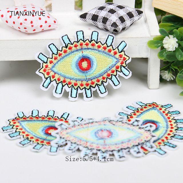 Tianxinyue 20 unids/lote ojo parches insignias para la ropa de hierro parche bordado apliques de hierro coser diy de coser accesorios