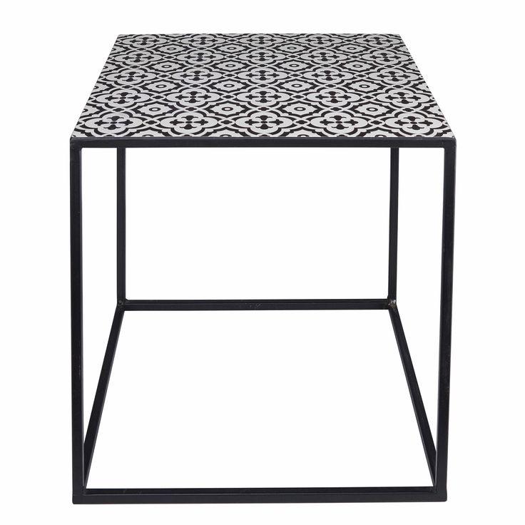 Beistelltisch Aus Metall Mit Schwarzen Und Weissen Motiven AMINA Jetzt Bestellen Unter Moebelladendirektde Wohnzimmer Tische Beistelltische Uid