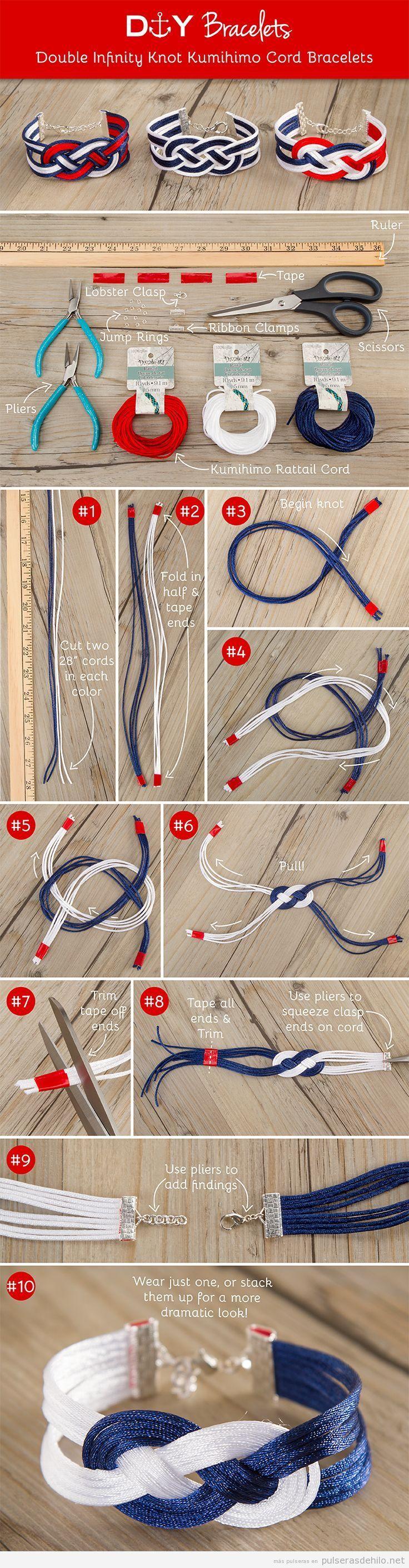 Tutorial para hacer una pulsera de hilos con el nudo infinito marinero
