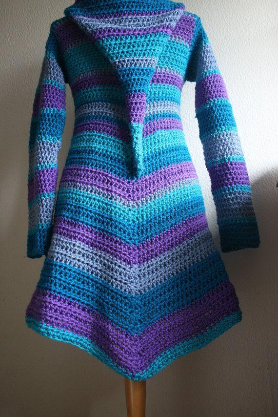 Crochet Hooded Long Coat idea - patterN  Super cute fairy frock!