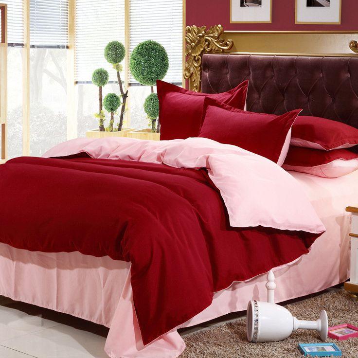 4pcs cotton bedding-set solid hotel bedding sets sheets duvet cover roupa de cama king size bedclothes bedspread no comforter