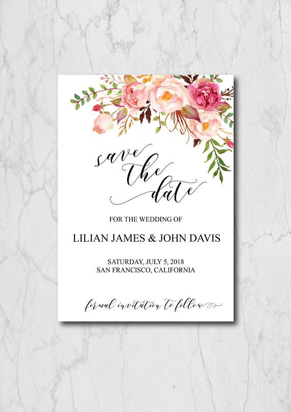 boho chic save the date template blush floral save the date cards