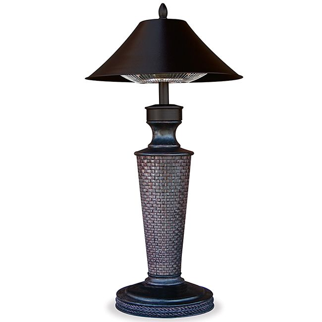 Stay comfortable in cooler temperatures with this decorative patio heater. Designed to look like a rustic table lamp, this heater has a 1,200-watt halogen bulb that radiates heat up to 12 feet. Keep your deck warm and also attractive with this piece.