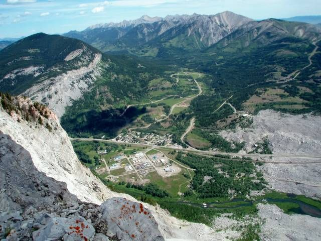 From the summit of Turtle Mountain looking down on the Frank Slide in the Crowsnest Pass, Alberta, Canada.