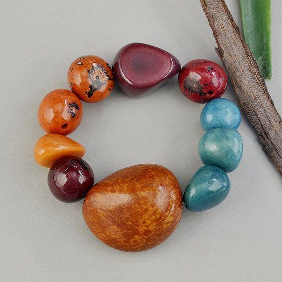 Tagua bracelet ivory bangle earth tones by ColorLatinoJewelry