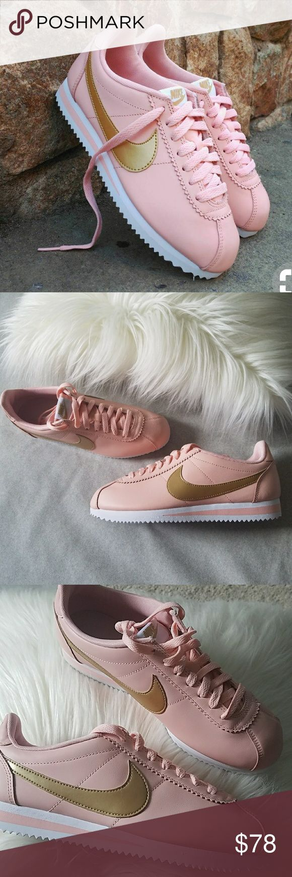 Nike Cortez Trainer in Dusty Pink and Gold New without box. Dusty rose pink color with gold Nike check and white accents. No trades. Nike Shoes Sneakers