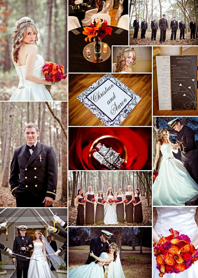 Red wedding ideas | black and white wedding | military wedding | Chi Photography of Charleston