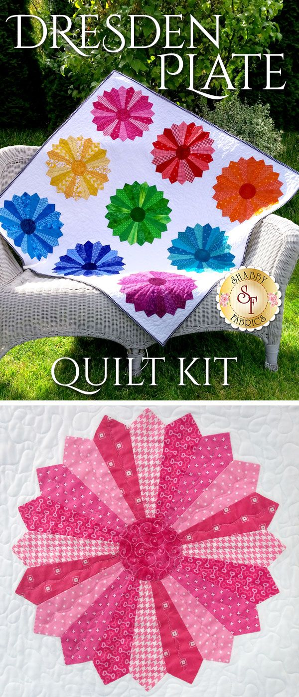 "Dresden Plate Quilt Kit Capture the beauty of the rainbow with the Dresden Plate Quilt Kit! This quilt features a dazzling arrray of nine colorful dresden blocks that make up the rainbow. The finished size of this quilt measures approximately 44"" x 44""."