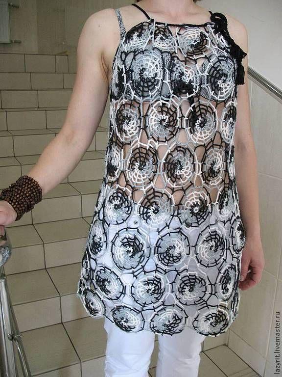 Купить Пляжная туника - чёрно-белый, абстрактный, ручная работа, летняя одежда, на заказ
