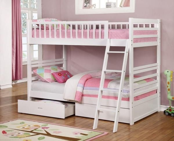 WHITE TWIN OVER TWIN SOLID WOOD BUNK BED #white #pink #bunkbed #kidsbedroom #bedroom #bedroomforgirls #bed