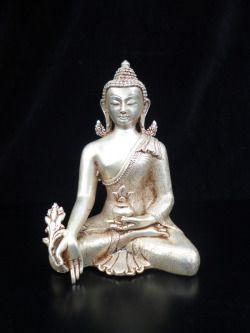 Buddha della Medicinarame argentato  altezza cm.16 x 10