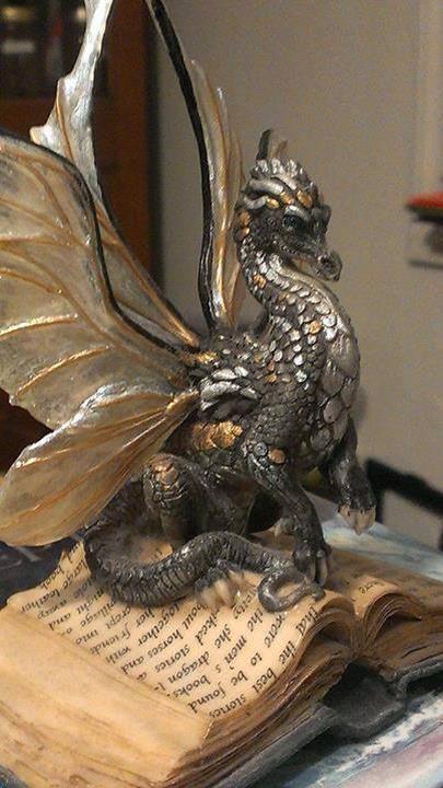 Book Dragon Sculpture