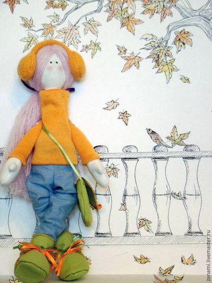 Коллекционные куклы ручной работы. Ярмарка Мастеров - ручная работа. Купить Кегля. Handmade. Оранжевый, кукла интерьерная, листва, прогулка