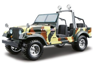 The Burago Jeep CJ 7 Army, is a diecast model car kit from this fantastic manufacturer in 1/24th scale. Build them, display them, collect them. Bburago's range of 1/24 scale die cast kits give you the chance to build your own super car or even a classic car. With a fully painted die cast metal body and coloured plastic detailing parts these kits will make up into a model you will want to display.