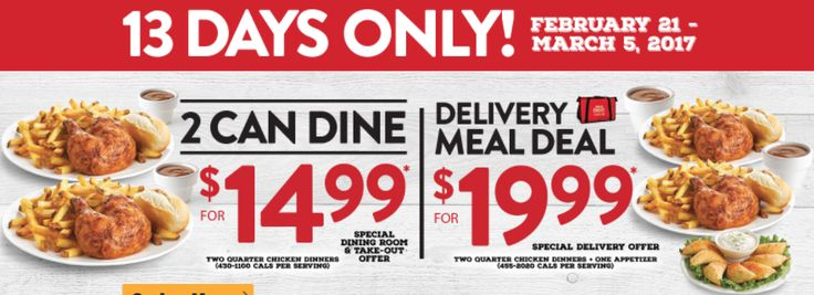 Swiss Chalet Canada Offers: 2 Can Dine for $14.99 & Delivery Meal Deal for $19.99 http://www.lavahotdeals.com/ca/cheap/swiss-chalet-canada-offers-2-dine-14-99/176315?utm_source=pinterest&utm_medium=rss&utm_campaign=at_lavahotdeals