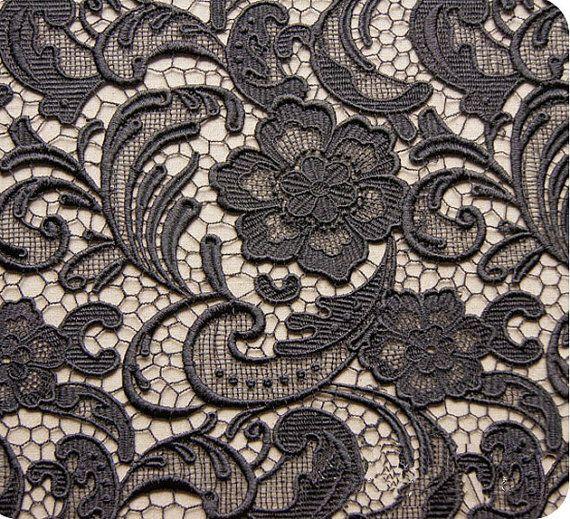 Black lace fabrics beautiful flower high quality hollow embroidery fabric wedding dress fabric 90cm width by yard £27.14/yd